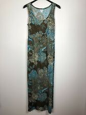 Motherhood Maternity Medium Maxi Dress Sleeveless Floral Scoop Neck Brown Blue