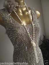 MONSOON NUDE SILVER SEQUIN SPARKLE FLAPPER 20's BODYCON DRESS 12 COCKTAIL PARTY