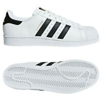 Adidas Originali UOMO Superstar le Scarpe da Tennis Bianco Nero Guscio Punta