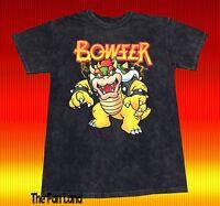 New Nintendo Bowser Acid Wash Men's Super Mario Bros Vintage T-Shirt
