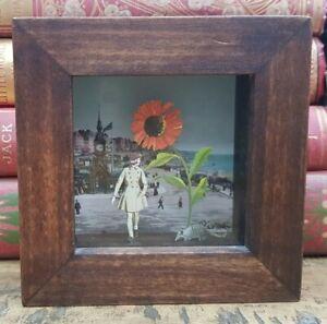 Original Signed Maria Rivans 3D Box Collage Flower Power Modern Art