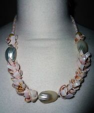 Shell beads / necklace pink  / ivory