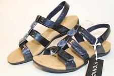 Vionic Amber Womens 8 39 Blue Printed Slingbacks Sandals Walking Flats Shoes