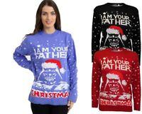 Ladies Women Knitted Christmas Xmas Star Wars Vintage Novelty Jumper Sweater Top