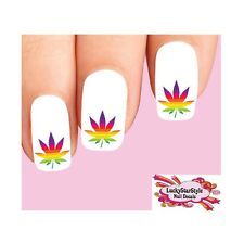 Waterslide Nail Decals Art Set of 20 - Rainbow Cannabis Pot Marijuana Leaf #3