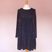 Girls On Film purple long sleeve lurex loose fit flowy short dress UK size 10