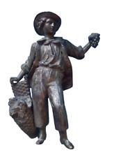 Ancien Personnage Régule Statue 1920 le Vendangeur  Vintage 18,5 cm Raisins