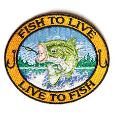 Embroidered Fish To Live Live To Fish Bass Sew or Iron on Patch Biker Patch