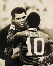 Pele Authentic Signed 16x20 Photo Muhammed Ali Hug - PSA/DNA COA