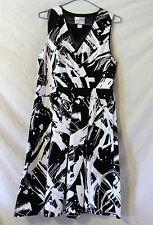 Christopher & Banks stretch black white  sleeveless halter lined dress  size10
