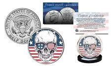 SKULL Genuine Legal Tender JFK Kennedy Half Dollar US Coin - Sunglasses US Flag