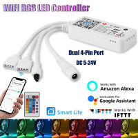 WiFi Smart LED RGB Strip Lights Controller Dual Port for Google Alexa Home IFTTT