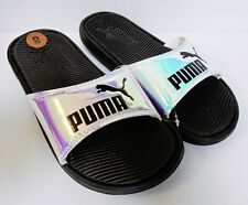 NEW PUMA Women's College Pop Cat PEARL IRIDESCENT Slide Sandals Blk Logo Sz 8