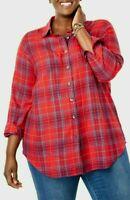 Women's PLUS SIZE 22/24 1X 2x 3x COTTON Plaid Flannel Shirt Long Sleeve Top Res