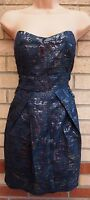 RISE FLORAL SILVER GLITTER NAVY BLUE BEADED TULIP TUBE BODYCON PARTY DRESS 12 M