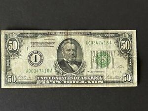 1928 YEAR US 50 DOLLARS BILL #1 BANK OF BOSTON MASSACHUSETTS