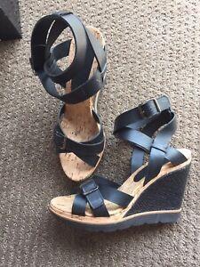 Scanlan & Theodore Fonda Leather Wedge Sandal heels Shoes 39
