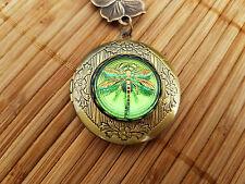 Peridot Dragonfly Locket - Czech glass button bronze round photo vintage