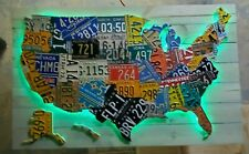 Large Led Lighted 3-D Usa License Plate Map Art - Metal Wall Art- All 50 States