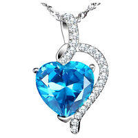"""4.10Ct Blue Topaz Heart Cut Pendant Necklace .925 Sterling Silver w/ 18"""" Chain"""