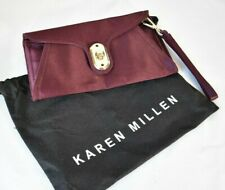 KAREN MILLEN Small Aubergine Clutch Bag with Detachable Wrist Strap