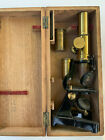 Antique Brass Microscope LONDON ZOO Late 1800's W/Case & Parts
