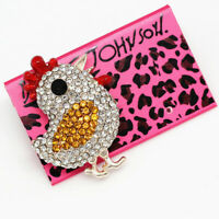 Betsey Johnson Enamel Crystal Cute Chicken Cock Rooster Charm Animal Brooch Pin