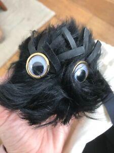 SOPHIE HULME black feather bag charm eyes bnwt keyring