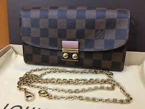LOUIS VUITTON Authentic N60287 Shoulder Croisette Chain Wallet Damier Ebene Pink