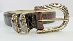 "Brighton Brown Leather Moc Croc Belt Large 35"" Silver Hardware Vintage Patina"