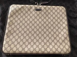RARE! NEW Gucci GG Brown Leather/Canvas Laptop Case/Sleeve or Clutch/Pouch