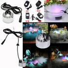12 LED Ultrasonic Mist Maker Light Fogger Water Fountain Pond Underwater W/Power