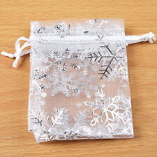 50x Hot Sale Christmas Snowflaker Organza Gift Bag 7x9cm Jewelry Findings ONE