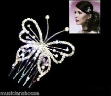 HAIR Slide PIN Comb CLIP Butterfly Fascinator DIAMANTE CRYSTAL Bridal Bridesmaid