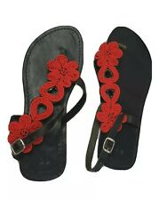 African handmade leather beaded sandals slingback summer shoes Coral UK 5-6