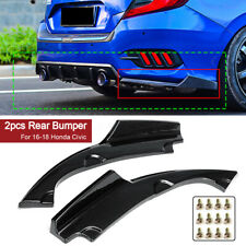 Carbon Look Rear Bumper Side Splitters Lip Apron Valance For Honda Civic 16-19