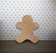 """Gingerbread Man"" Cork Memo Notice Board message home wall pinboard, 7 pins"
