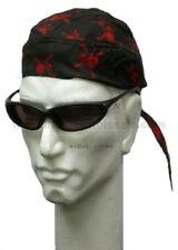 Red and Black Skull Crossbones Skull Cap Headwrap Biker Durag Bandanna Sports