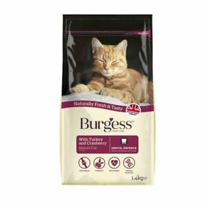 Supacat Burgess Mature Cat Food Turkey and Cranberry 1.4kg Biscuit Dry