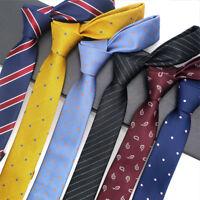 Factory Men's Neck Tie Skinny Slim Necktie Narrow Polka Dot Striped Ties