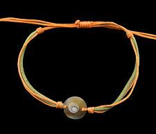 Bracelet bresilien Oeil de Sainte Lucie  resine cuir- Shiva - orange vert 1008