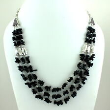 NATURAL FINE CHIPS BLACK ONYX GEMSTONE BEADS BEAUTIFUL NECKLACE 66 GRAMS