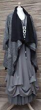 Collar Grande en capas de gran tamaño impresionante Chaqueta/Abrigo * negro jaspeado * Tamaño 46-48-50