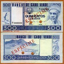 SPECIMEN, Cape Verde, 500 Escudos, 1977, Pick 55 (55s) UNC