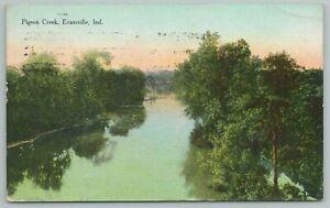Evansville Indiana~Pigeon Creek From Above~Vintage Postcard