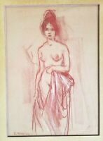 "Vintage Fine Signed Original Sanguine Art Drawing of Nude Female 8""x 11"" Maurice"