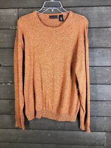 State-Ments 6012 Speckled Orange Crew Neck Sweater Men's XL