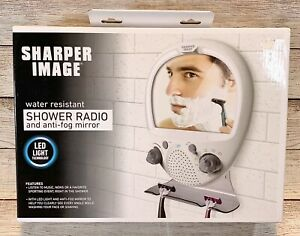 Sharper Image Shower Radio Water Resistant and LED Anti-fog Mirror New