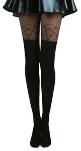 OPAQUE OVER KNEE SHEER PENTAGRAM TIGHTS GOTHIC PUNK ROCKER BLACK SEXY FUNKY GOTH