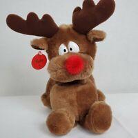 "Russ Berrie Radar Reindeer Plush Brown Christmas Holiday 10"" Stuffed Animal Toy"